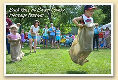 Sack race at Swain County Heritage Festival