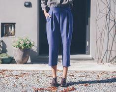 Pantalone a quadrettoni ruggine e neri in lana gamba di nivule
