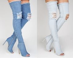 LADIES WOMENS OVER THE KNEE HIGH HEEL DENIM RIPPED LOOK BOOTS. DENIM STRETCH MATERIAL FOR EASY WEAR. PULL ON BOOTS WITH ZIP FASTENING. SIZE 3 - 8. | eBay!