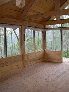 Off grid cabin with screened openings and roll down canvas for inclement weather.