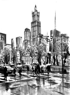 NY streets. charcoal piece by Denny Stoekenbroek