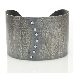 Wafer Diamonds Cuff; Oxidized Sterling Silver with Diamonds. Handmade Modern Rustic Jewelry by Ayesha Mayadas