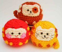 Daruma Japanese wish dolls Kitty Doggy Amigurumi Crochet pattern by HandmadeKitty by HandmadeKitty=^_^=, via Flickr