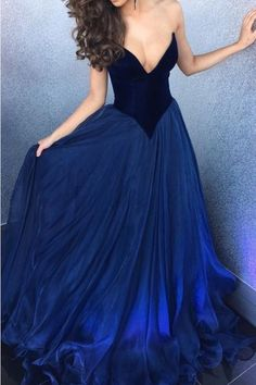 A line sexy Deep V-neckline Royal Blue Prom Dress