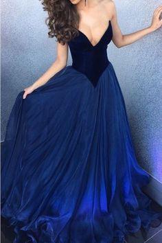 A line sexy Deep V-neckline Royal Blue Prom Dress