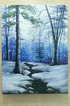 Canvas Painting Tutorials, Diy Canvas Art, Acrylic Painting Canvas, Winter Painting, Winter Scene Paintings, Forest Painting, Landscape Art, Ocean Paintings, Canvas Painting Landscape