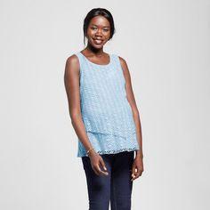 Maternity 2-Tier Crochet Tank Top Blue XL - Ma Cherie Maternity