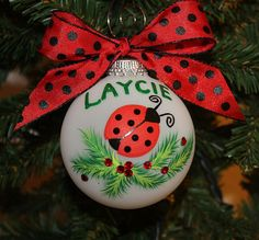 Ladybug Personalized Ornament  Handpainted by FlutterbyConnections