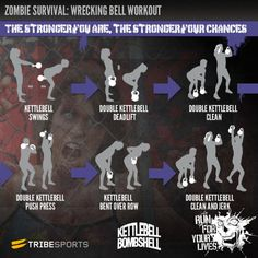 tribesports:  The zombie apocalypse is coming. Are you fit enough to survive? We have a whole new series of Halloween workouts on Tribesports, put together by our expert partners to help you stay fit and stay alive! This is the Wrecking Bell Workout designed for us by Kettlebell Bombshell. Build your strength and endurance with this fantastic kettlebell circuit!