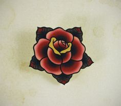Traditional Rose Tattoo Brooch by Yukittenme on Etsy https://www.etsy.com/uk/listing/153516149/traditional-rose-tattoo-brooch
