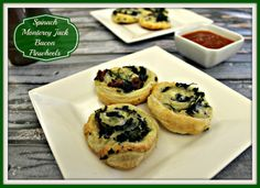 Spinach Monterey Jack Bacon Pinwheels - quick and easy to make. Perfect for any occaision. Side Dish Recipes, Wine Recipes, Easy Dinner Recipes, Whole Food Recipes, Soup Recipes, Cooking Recipes, Yummy Recipes, Dinner Ideas, Easter Appetizers