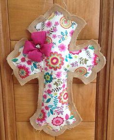 Burlap cross door hanger by TennesseeSweetTea on Etsy, $32.00