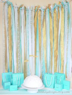 I love this idea here. Fabric Garland Rag Streamer Backdrop with Mint and Gold Fabric , Lace and Tulle by AnnKayDesign, Streamer Backdrop, Photo Booth Backdrop, Streamers, Backdrop Ideas, Ribbon Backdrop, Reception Backdrop, Fabric Backdrop, Fabric Garland, Gold Fabric