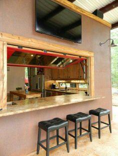 Patio kitchen pass-through window Design Ideas, Pictures, Remodel and Decor Home Design, Küchen Design, Patio Design, Layout Design, Design Ideas, Bar Designs, Modern Design, Interior Design, Indoor Outdoor Kitchen