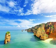Picture of Idyllic beach landscape at Lagos, Algarve, Portugal stock photo, images and stock photography. Beach Landscape, Canary Islands, Most Visited, Amazing Destinations, Amazing Hotels, Holiday Destinations, Cities, Funchal, Cool Places To Visit