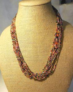 ZAD Multi Strand Seed Bead Multi Color Fashion Jewelry NECKLACE #Zad #StrandString