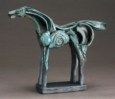 """""""Turquoise Horse, 12-28"""" by Jeri Hollister : """"My influences include Japanese Haniwa and Chinese Xian Tomb and T'ang Dynasty ceramic sculpture, as well as other modern masters such as Marino Marini and Pablo Picasso."""""""