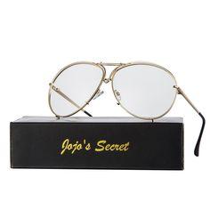 397d0bcd0 Oversized Aviator Sunglasses-Retro Metal Design Frames Sunglasses JS043 -  Gold/Clear - CH187YYL6A6