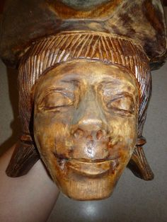 Vintage Antique Wood Carved Grinding Bowl Girl Strange Rare Face Head OOAK