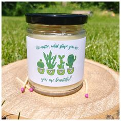 "This one says ""no matter what shape you are, you are beautiful. Bridesmaid Proposal Gifts, Wedding Gifts For Bridesmaids, Candle Labels, Candle Jars, Beeswax Candles, Scented Candles, Personalized Labels, Organic Coconut Oil, Bridal Gifts"