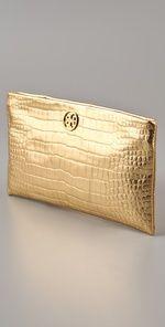 golden tory burch clutch from Shopbop Wedding Boutique