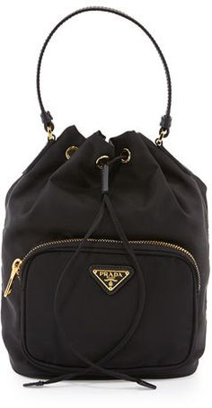Prada Tessuto Mini Bucket Crossbody Bag, Black (Nero)