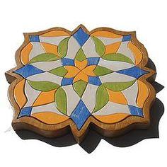 Mosaic Childrens Puzzle - Orange and Blue Flower