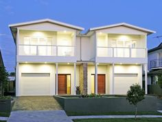 Like white panels, change to black trimming, darker garage door, no timber front door Timber Front Door, Duplex Design, White Paneling, The Hamptons, Property For Sale, Facade, Real Estate, Mansions, House Styles