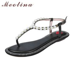 Meotina Shoes Women Genuine Leather Sandals Summer Flat Thong Sandals Beading Beach Shoes Fashion Ladies Flats Shoes White Beige #Affiliate