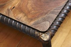 Portland Salvage: Rebar saved from a bridge frames a black walnut tabletop