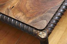 Portland Salvage: Rebar saved from a bridge frames a black walnut tabletop Steel Furniture, Industrial Furniture, Wooden Furniture, Custom Furniture, Cool Furniture, Furniture Design, Furniture Plans, Metal Projects, Welding Projects