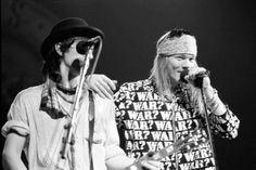 Izzy Stradlin & Axl Rose of Guns N' Roses, late '80s,