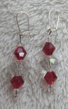 Red and clear crystal beaded dangle earrings. by MysticalGypsies, $5.00