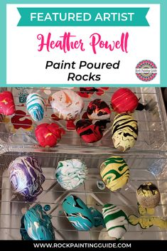 Paint Pour on Rocks by Heather Powell Easy Paint Pour on Rock Method by Heather Powell. Rock Painting Ideas and Video Tutorials. Rock Painting Patterns, Rock Painting Ideas Easy, Diy Painting, Painting Videos, Pebble Painting, Pour Painting, Stone Painting, Rock Crafts, Craft Stick Crafts