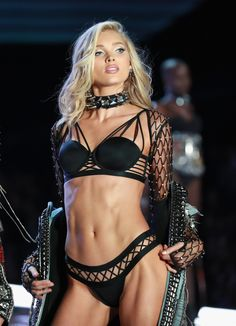 Elsa Hosk walks the runway in Balmain x Victoria'S Secret, embellished with crystals from Swarovski at the 2017 Victoria's Secret Fashion Show at Mercedes-Benz Arena on November 20, 2017 in Shanghai, China. (Photo by Lintao Zhang/Getty Images for Swarovski)