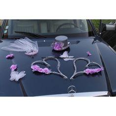 Décoration voiture de la mariées pour mariage thème orchidées, papillons et cœurs couleur gris et parme http://bouquet-de-la-mariee.com/decoration-voiture-mariage/785-decoration-voiture-mariage-orchidee-parme.html Vidéo sur: https://youtu.be/Z0knZ1NM7Os
