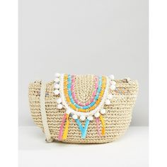 South Beach Straw Bag with Staw Piping and Pom Pom Trim (€20) ❤ liked on Polyvore featuring bags, handbags, shoulder bags, multi, straw handbags, south beach, white purse, woven purses and drawstring shoulder bag