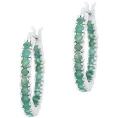 glitzy Rocks Sterling Silver Inside-out Emerald Hoop Earrings 3349