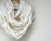 Women infinity white scarf - felted wool circle scarf - cobweb - made to order - Christmas gift