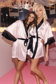 Taylor Marie Hill and Devon Windsor - Backstage at Victoria's Secret Fashion Show 2014