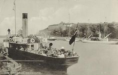 The 'Empress' in Weymouth, black and white. Cosens & Co - Paddle Steamer Postcards