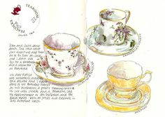 Art by Anita Davies. Love the teacups!! Why doesn't my penmanship look that great?