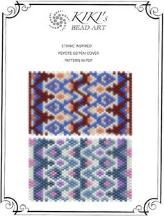 Peyote pen cover patterns- ethnic inspired 5-6, peyote patterns set of 2 for pen wrap -for G2 pen by Pilot-in PDF instant download
