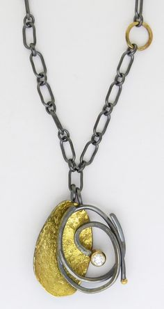 Pebble Scribble Pendant by Sydney Lynch: Gold, Silver, & Stone Necklace available at www.artfulhome.com