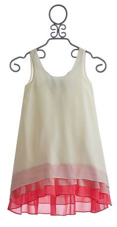 Truly Me Ivory Chiffon Dress with A Touch of Pink $62.00