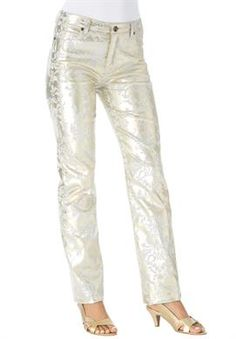 Plus Size Embellished Gold Straight Jeans