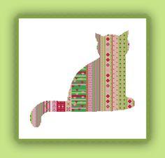 Katze Minka Mauz Stickvorlage farbig Kreuzstich sticken Stickvorlage von www.yayaya-shop.com