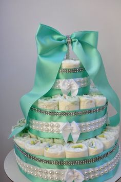 Baby Shower Diaper Cake Robins Egg Blue w/ Pearls & Diamonds Gender Neutral 3 Tier Baby Co, Baby Baby, Tiffany And Co, Tiffany Blue, Baby Shower Diapers, Baby Shower Gifts, Nappy Cakes, Tiffany Wedding, Robins Egg
