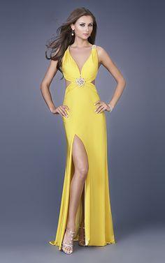 Yellow Cross Back High Slit Beading Floor Length Evening Dress