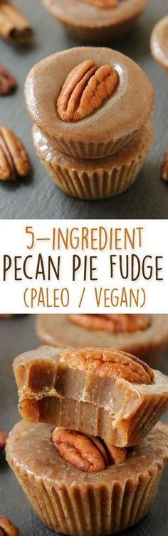 Healthier 5-Ingredient Pecan Pie Fudge  no candy thermometer needed! {naturally paleo, vegan, and gluten-free}